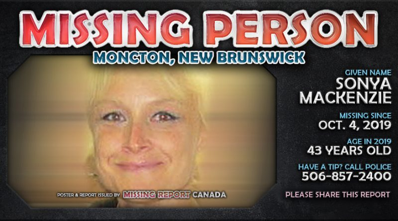 Sonya Nicole MacKenzie Missing Person Moncton, New Brunswick Poster