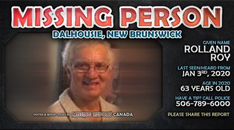 Rolland Roy - Missing Person - Dalhousie, New Brunswick Poster